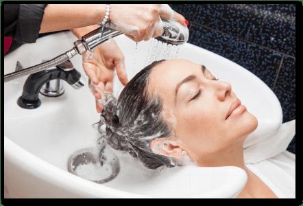 woman getting a hair wash